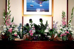 Silk flower display for cruise ship